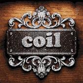Coil vector metal word on wood — Stock Vector