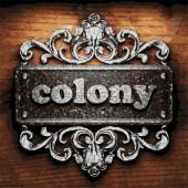 Colony vector metal word on wood — Stock Vector