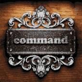 Command vector metal word on wood — Stock Vector