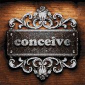 Conceive vector metal word on wood — Stock Vector
