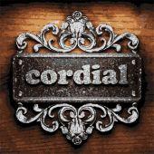 Cordial vector metal word on wood — Stock Vector