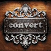 Convert vector metal word on wood — Stock Vector