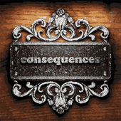 Consequences vector metal word on wood — Stock Vector