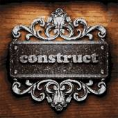 Construct vector metal word on wood — Stock Vector