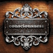 Consciousness vector metal word on wood — Stock Vector