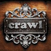 Crawl vector metal word on wood — Stock Vector
