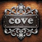 Cove vector metal word on wood — Stock Vector
