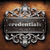 Credentials vector metal word on wood — Stock Vector