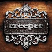 Creeper vector metal word on wood — Stock Vector