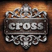 Cross vector metal word on wood — Stock Vector