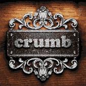 Crumb vector metal word on wood — Stock Vector