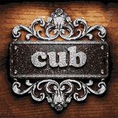 Cub vector metal word on wood — Stock Vector