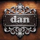 Dan vector metal word on wood — Stock Vector