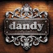 Dandy vector metal word on wood — Stock Vector