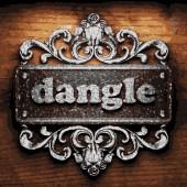 Dangle vector metal word on wood — Stock Vector