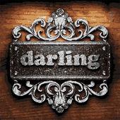 Darling vector metal word on wood — Stockvector