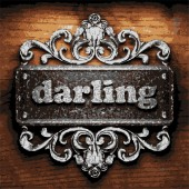 Darling vector metal word on wood — Stock Vector