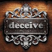 Deceive vector metal word on wood — Stock Vector