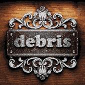 Debris vector metal word on wood — Stock Vector