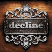Decline vector metal word on wood — Stock Vector