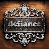 Defiance vector metal word on wood — Stock Vector