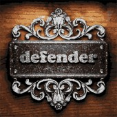 Defender vector metal word on wood — Stok Vektör