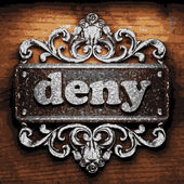 Deny vector metal word on wood — Stock Vector