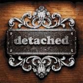Detached vector metal word on wood — Stock Vector