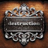 Destruction vector metal word on wood — Stock Vector