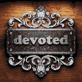 Devoted vector metal word on wood — Stock Vector