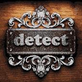 Detect vector metal word on wood — Stock Vector