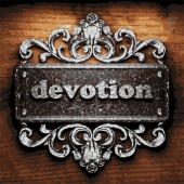 Devotion vector metal word on wood — Stockvektor