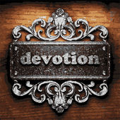 Devotion vector metal word on wood — Vetor de Stock