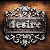 Desire vector metal word on wood — Stock Vector
