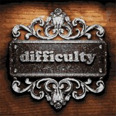 Difficulty vector metal word on wood — Stock Vector