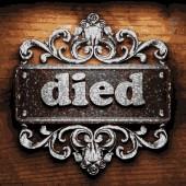 Died vector metal word on wood — Stock Vector