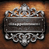 Disappointment vector metal word on wood — Stock Vector