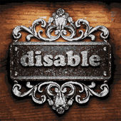 Disable vector metal word on wood — 图库矢量图片