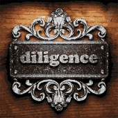 Diligence vector metal word on wood — Stock Vector