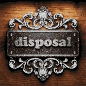 Disposal vector metal word on wood — Stock Vector