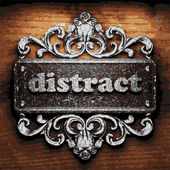 Distract vector metal word on wood — Stock Vector