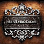 Distinction vector metal word on wood — Stock Vector