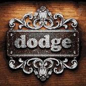 Dodge vector metal word on wood — Stock Vector