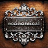 Economical vector metal word on wood — Stock Vector