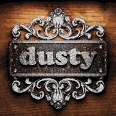 Dusty vector metal word on wood — Stock Vector