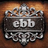 Ebb vector metal word on wood — Stock Vector