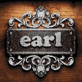 Earl vector metal word on wood — Stock Vector
