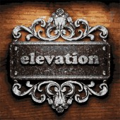 Elevation vector metal word on wood — Stock Vector