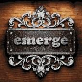 Emerge vector metal word on wood — Stock Vector