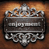 Enjoyment vector metal word on wood — Stock Vector